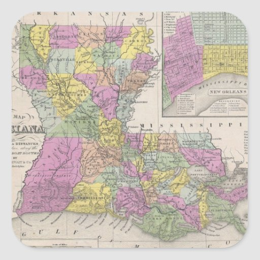 Vintage Map of Louisiana (1853) Square Stickers