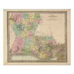 Vintage map of Louisiana Print