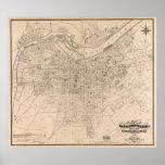 Vintage Map of Louisville Kentucky (1873) Poster