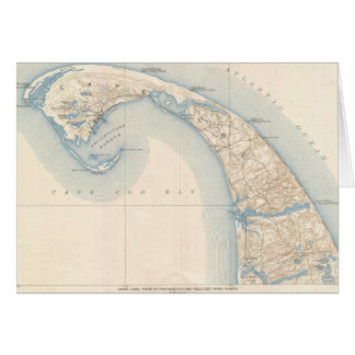 Vintage Map of Lower Cape Cod Greeting Card