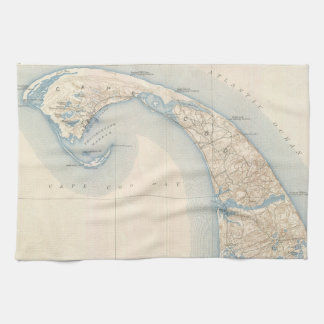 Vintage Map of Lower Cape Cod Kitchen Towel
