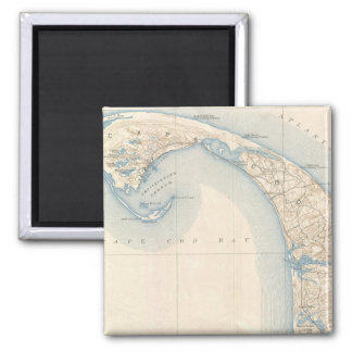 Vintage Map of Lower Cape Cod 2 Inch Square Magnet