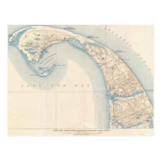 Vintage Map of Lower Cape Cod Postcard