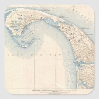 Vintage Map of Lower Cape Cod Square Stickers