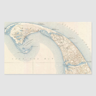 Vintage Map of Lower Cape Cod Rectangle Sticker