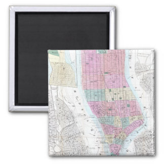 Vintage Map of Lower Manhattan (1865) 2 Inch Square Magnet