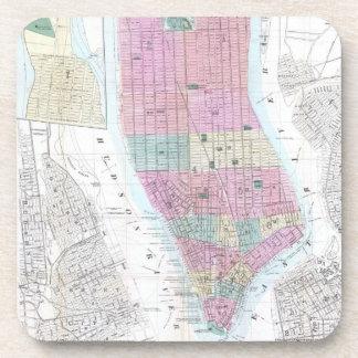 Vintage Map of Lower Manhattan (1865) Beverage Coaster
