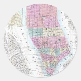 Vintage Map of Lower Manhattan (1865) Classic Round Sticker