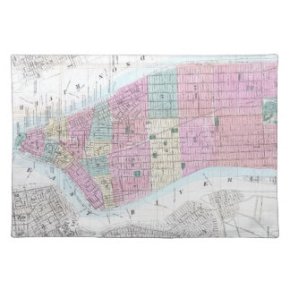 Vintage Map of Lower Manhattan (1865) Cloth Placemat