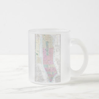 Vintage Map of Lower Manhattan (1865) Frosted Glass Coffee Mug