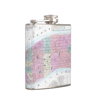 Vintage Map of Lower Manhattan (1865) Hip Flask