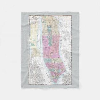 Vintage Map of Lower Manhattan (1865) Fleece Blanket