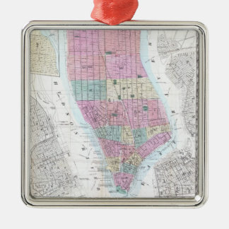 Vintage Map of Lower Manhattan (1865) Metal Ornament