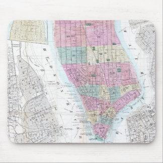 Vintage Map of Lower Manhattan 1865 Mousepad