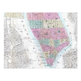 Vintage Map of Lower Manhattan (1865) Postcard