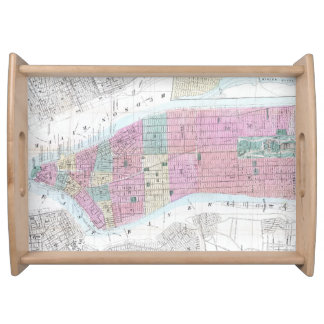 Vintage Map of Lower Manhattan (1865) Serving Tray