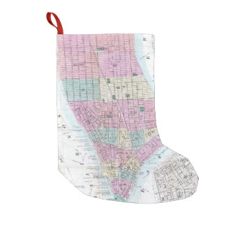 Vintage Map of Lower Manhattan (1865) Small Christmas Stocking