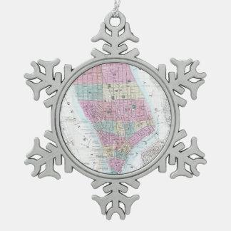 Vintage Map of Lower Manhattan (1865) Snowflake Pewter Christmas Ornament
