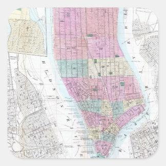 Vintage Map of Lower Manhattan (1865) Square Sticker