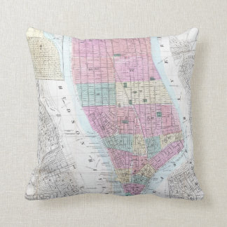 Vintage Map of Lower Manhattan (1865) Throw Pillow