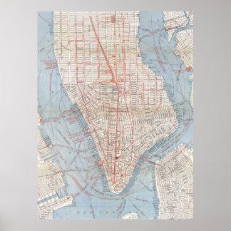 Vintage Map of Lower Manhattan (1879) Poster
