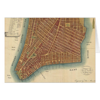 Vintage Map of Lower New York City (1807) Card