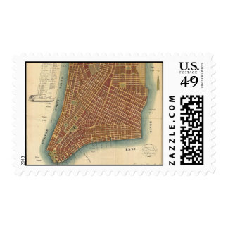 Vintage Map of Lower New York City (1807) Postage Stamp