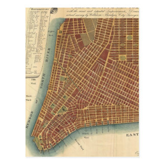 Vintage Map of Lower New York City (1807) Postcard