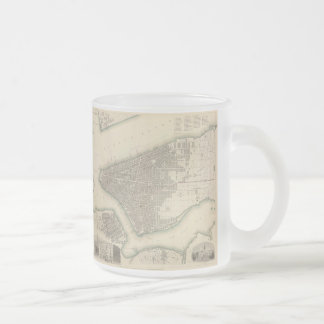 Vintage Map of Lower New York City (1840) Frosted Glass Coffee Mug
