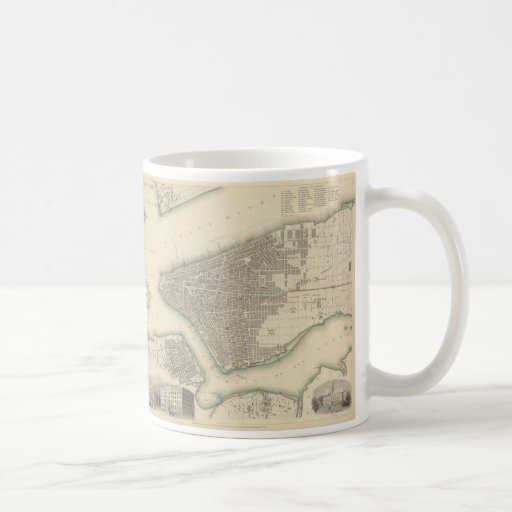 Vintage Map of Lower New York City (1840) Coffee Mug