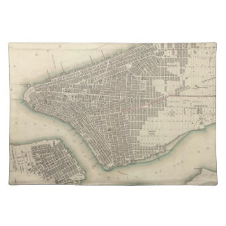 Vintage Map of Lower New York City 1840 Placemats