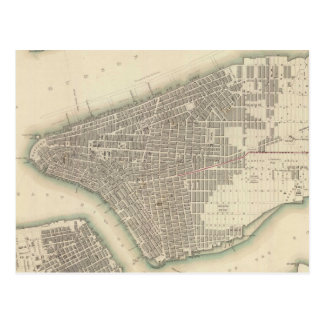 Vintage Map of Lower New York City (1840) Postcard