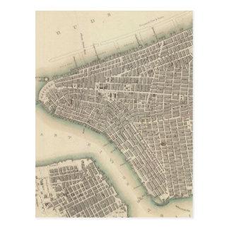 Vintage Map of Lower New York City (1840) Postcard