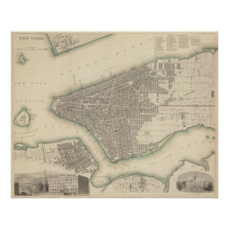 Vintage Map of Lower New York City (1840) Poster