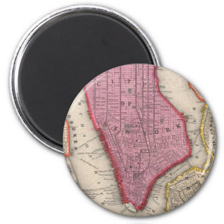 Vintage Map of Lower New York City (1860) 2 Inch Round Magnet