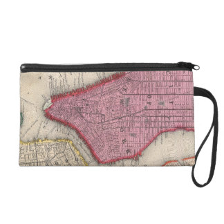 Vintage Map of Lower New York City (1860) Wristlet Clutches