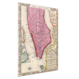 Vintage Map of Lower New York City (1860) Canvas Prints