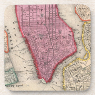 Vintage Map of Lower New York City (1860) Coasters