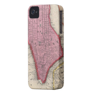 Vintage Map of Lower New York City (1860) iPhone 4 Case-Mate Case