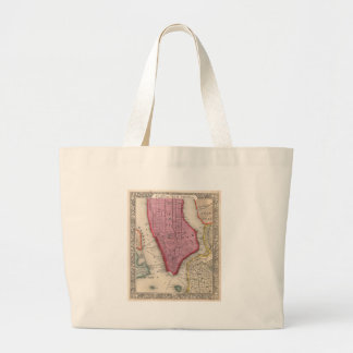 Vintage Map of Lower New York City (1860) Large Tote Bag