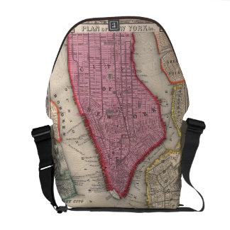 Vintage Map of Lower New York City (1860) Courier Bags