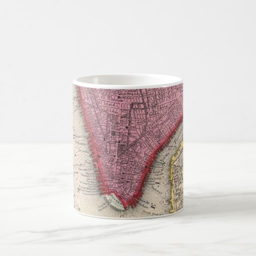 Vintage Map of Lower New York City (1860) Mugs