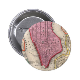 Vintage Map of Lower New York City (1860) Pinback Button