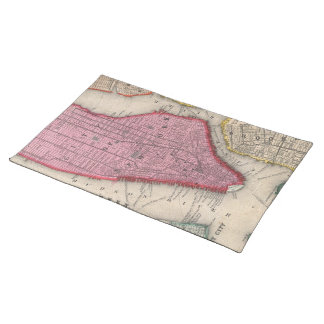 Vintage Map of Lower New York City 1860 Place Mats