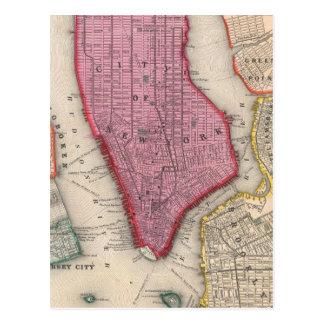 Vintage Map of Lower New York City (1860) Postcard