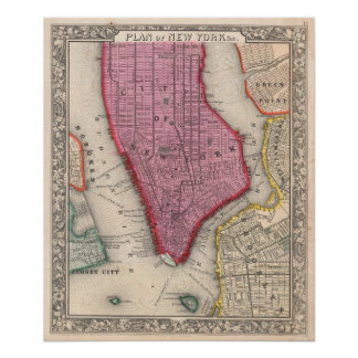 Vintage Map of Lower New York City (1860) Poster