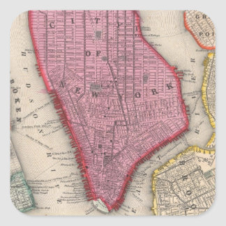 Vintage Map of Lower New York City (1860) Square Sticker