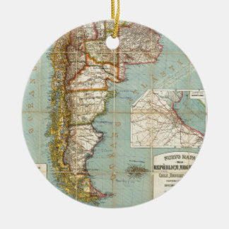 Vintage Map of Lower South America (1914) Ceramic Ornament