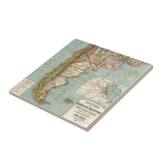 Vintage Map of Lower South America (1914) Ceramic Tile