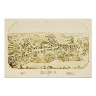 Vintage Map of Madison, Connecticut from 1881 Poster
